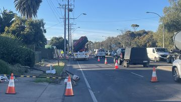 A ute collided with a Stobie pole, brought down power lines and hit a water meter.