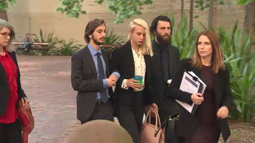 Hannah Quinn appeared in court for the first time after receiving bail for the samurai sword murder of Jett McKee.