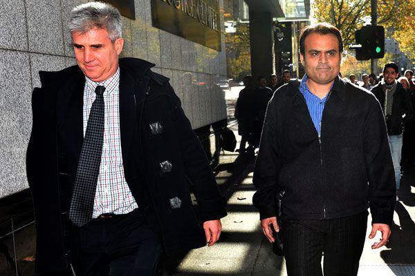 PanKaj Oswal (right) leaving Melbourne's Supreme Court (AAP)