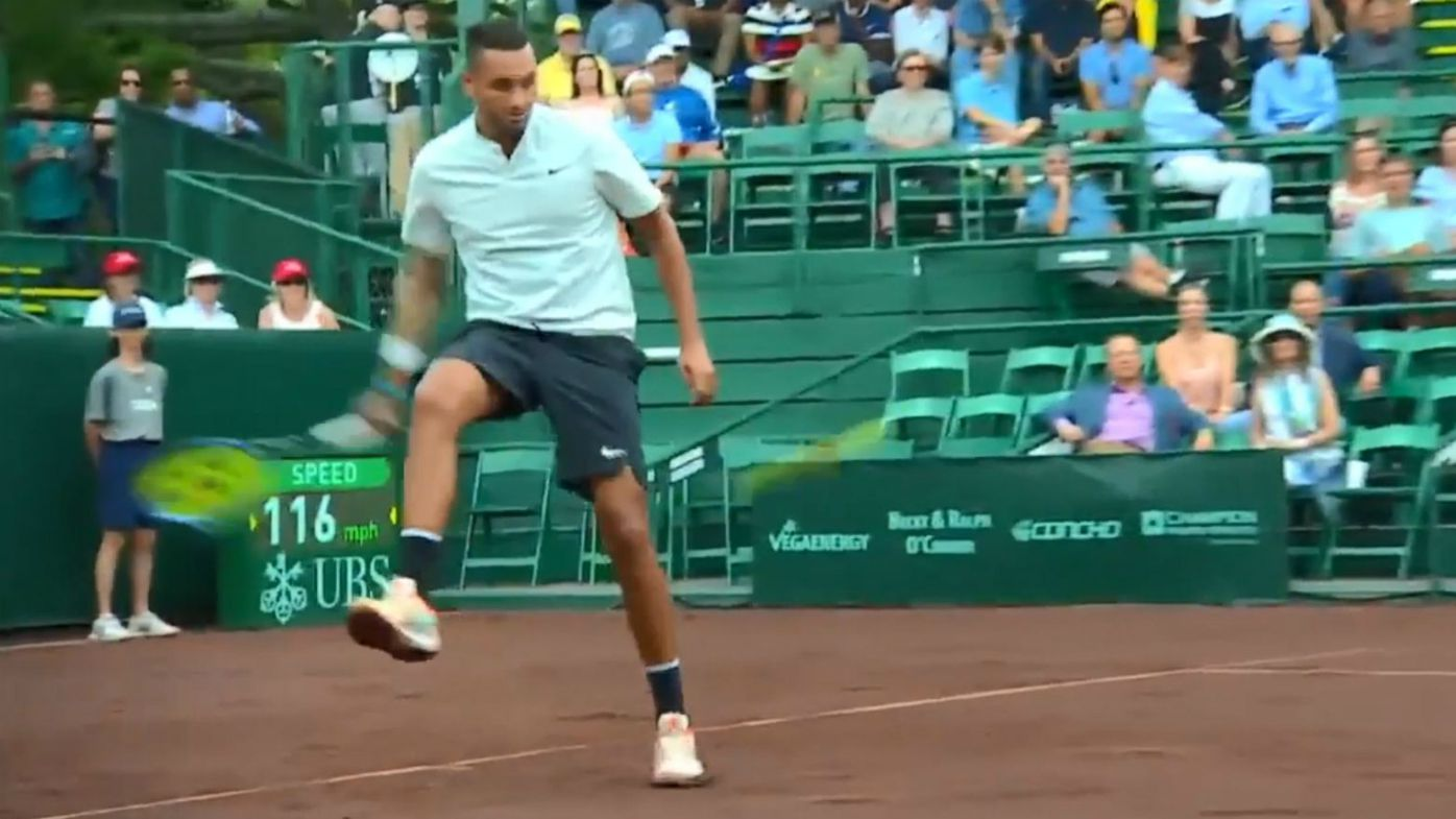Nick Kyrgios turns on the swagger in Houston against Ivo Karlovic