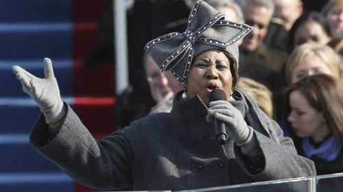 Aretha Franklin sings at Barack Obama's inauguration in 2009. (AAP)