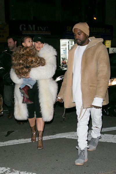 Kanye West and Kim Kardashian West in New York City, February 2016