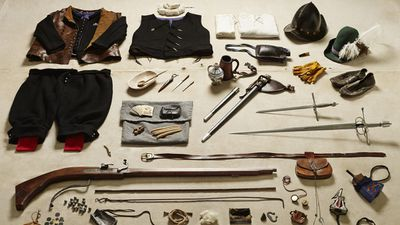 """He said he spent hours organising the gear, describing the whole process as """"a lot like Tetris"""", including this equipment representing a trained band fighter from 1588."""