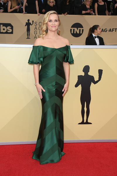 <p>Reese Witherspoon in Zac Posen at the 2018 Screen Actors Guild Awards. </p>