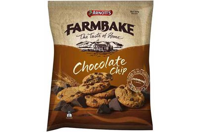 Farmbake chocolate chip cookie: 60 calories/251kj per biscuit