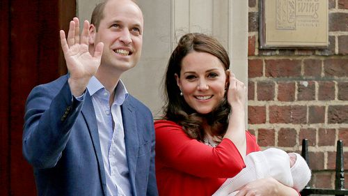 The duke and duchess of Cambridge have spent their first day at home as a family of five. (PA/AAP)