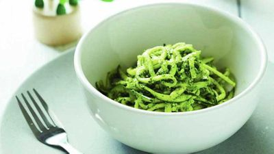 """Recipe: <a href=""""http://kitchen.nine.com.au/2016/07/11/10/20/110716-zoodles-with-dinosaur-sauce"""" target=""""_top"""">Oodles of zoodles with dinosaur sauce</a>"""