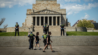 Victoria Police patrol at the Shrine of Remembrance on October 03, 2020 in Melbourne, Australia. (Photo by Darrian Traynor)