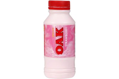 Oak 300ml strawberry-flavoured milk: 33.6g sugar per serve