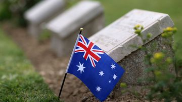 An Australian flag at the Australian Memorial Service at Lone Pine in commemoration of the Gallipoli War on Gallipoli Peninsula, Turkey.