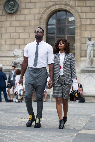 NBA superstar Dwayne Wade and actress Gabrielle Union had his-and-her-suit styling down to a fine art in June 2017 at designer Thom Browne's menswear Spring 2018 show in Paris.