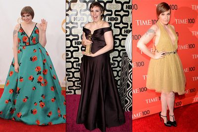We love us some Lena Dunham, so it pains us to include her on the list, but the <i>Girls</i> creator just cannot seem to strike it right on the fashion front. From her floral parachute at this year's Emmy Awards (left), to that drab, brown disaster at the Golden Globes (middle), Lena is in need of some serious style advice before her next red carpet event.