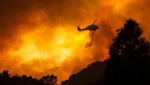 A huge forest fire that prompted evacuations north of Los Angeles flared up around noon Saturday, August 15, sending up a cloud of smoke as it headed toward thick, dry brush in the Angeles National Forest.