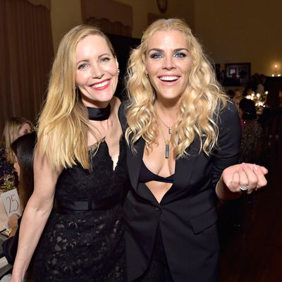 Leslie Mann and Busy Philipps attend PORTER's Third Annual Incredible Women Gala at The Ebell of Los Angeles on October 9, 2018 in Los Angeles, California