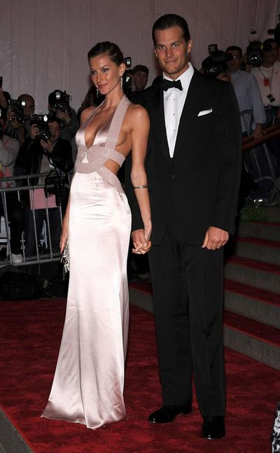 Gisele in Versace and Tom Brady at the Met Gala, Superheroes: Fashion And Fantasy at the Metropolitan Museum of Art in New York City, 2008