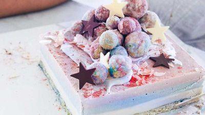 "Recipe:<a href=""http://kitchen.nine.com.au/2017/05/11/07/42/hippie-lanes-raw-rainbow-cake"" target=""_top"" draggable=""false"">Hippie Lane's raw rainbow cake</a>"