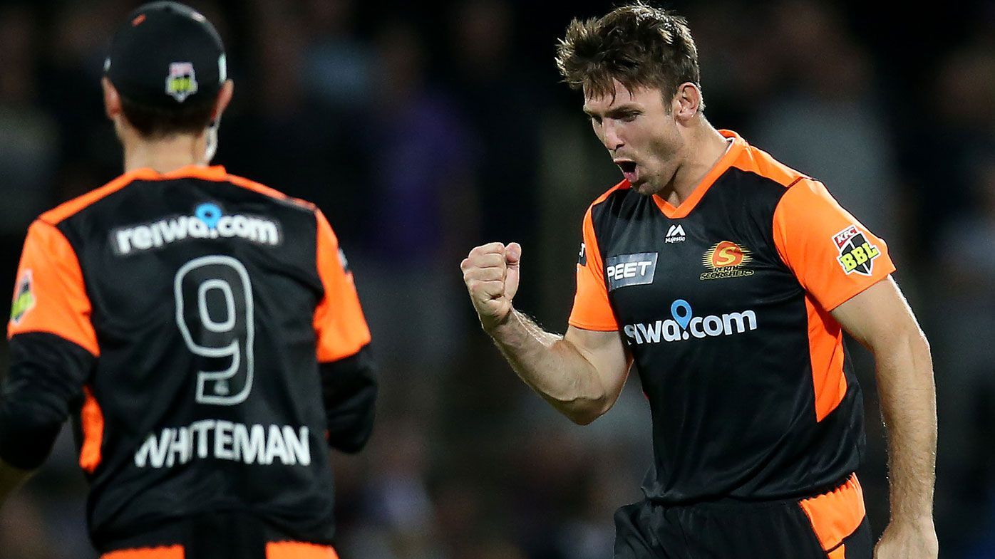 Mitch Marsh of the Scorchers celebrates taking the wicket of Ben McDermott of the Hurricanes