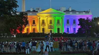 Perhaps the most important political moment of the Obama years had little to do with the president. The Supreme Court ruled to legalise gay marriage nationwide in 2015. The White House was lit up in rainbow colours to mark the decision. (AP)