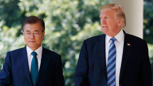 US President Donald Trump says he's spoken with South Korean President Moon Jae-in (AP Photo/Evan Vucci, File).