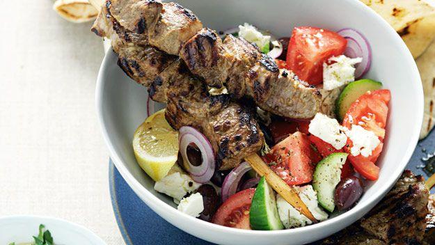 Marinated greek lamb skewers