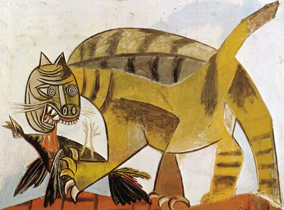 Cat Devouring A Bird, Pablo Picasso (1939)