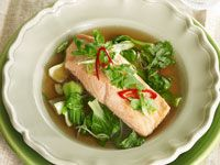 Ginger broth with salmon and pak choy