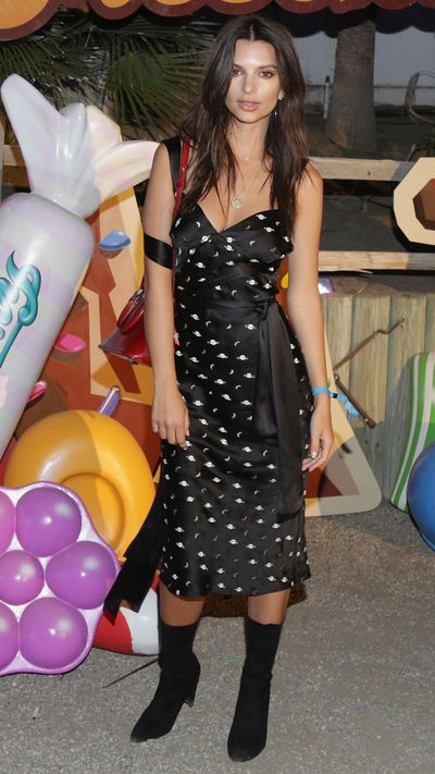 Emily Ratajkowski at the Moschino party celebrating their Candy Crush capsule collection.