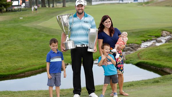 Marc Leishman with his wife Audrey and three children. Photo: AAP
