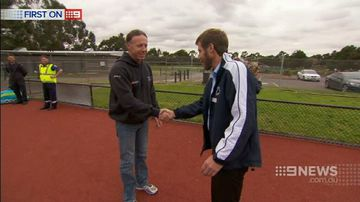 Hockey player reunited with hero opposition goalie who helped save his life