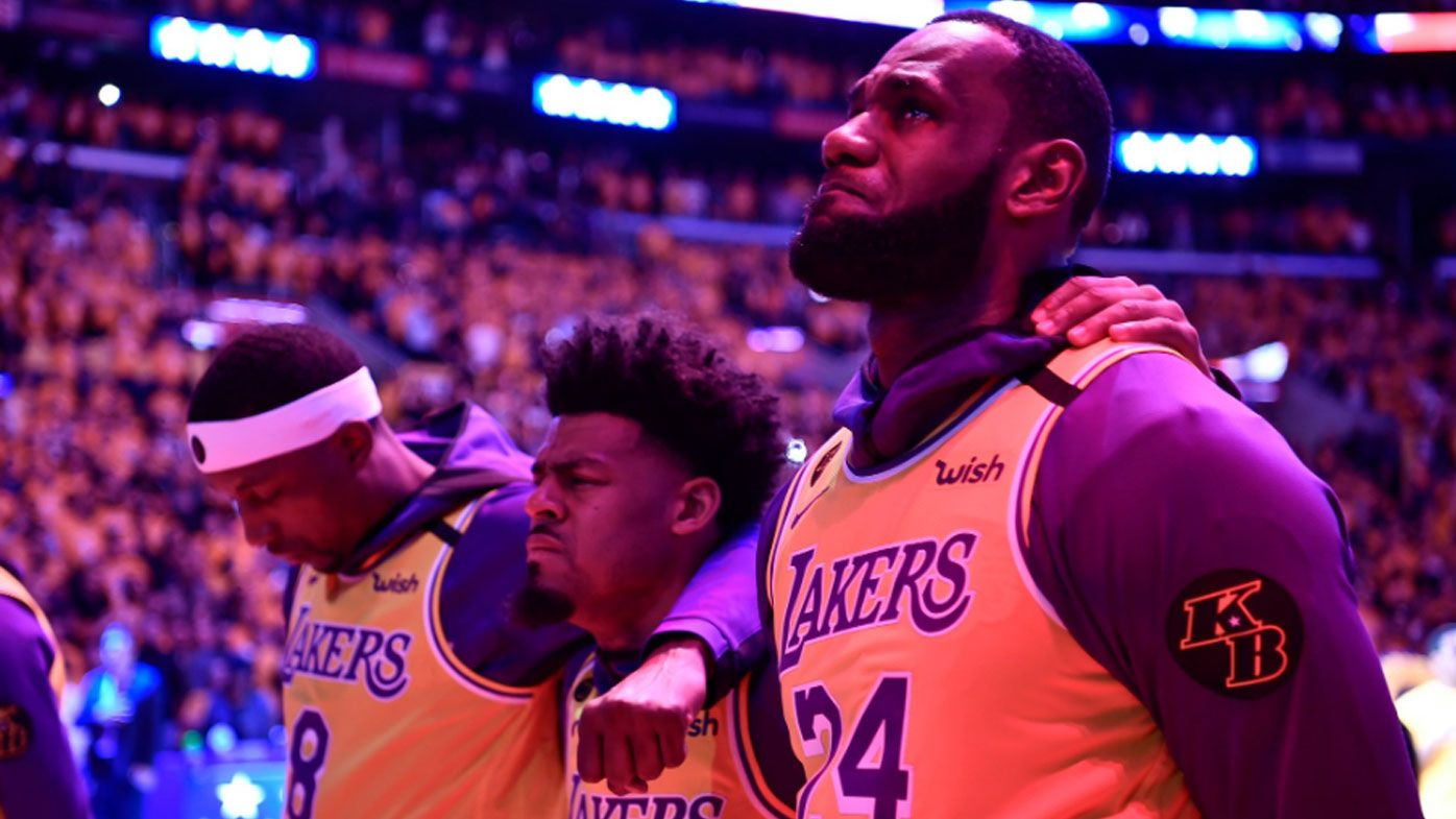'Live on brother': LeBron James fights back tears while delivering heartfelt tribute to the late Kobe Bryant