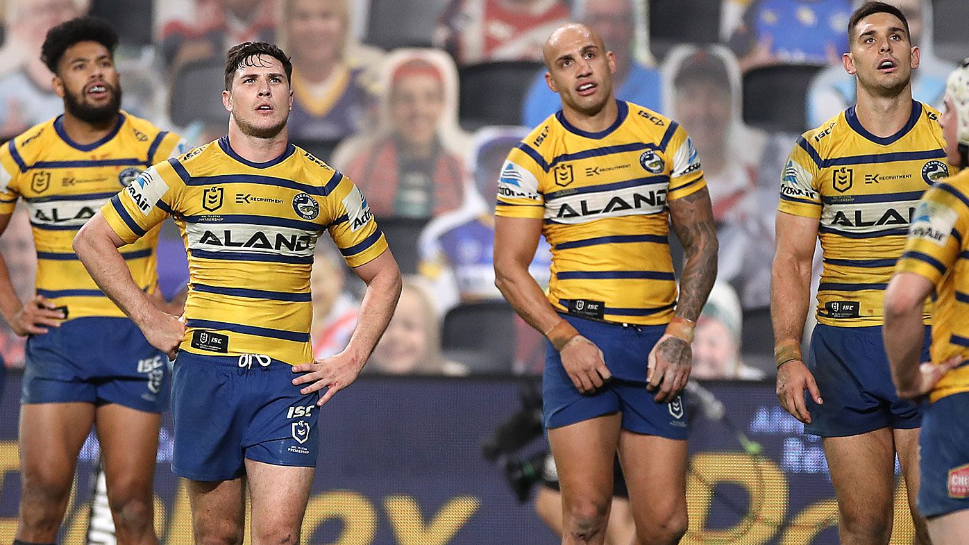 Mitchell Moses and Blake Ferguson of the Eels looks dejected after the Roosters scored a try