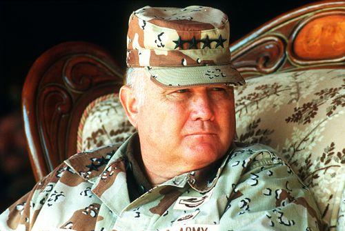Norman Schwartzkopf during The Gulf War. Picture: AAP