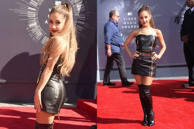 Va-va-voom! <br/><br/>Ariana as we know her today in her signature high ponytail and double leather. <br/>