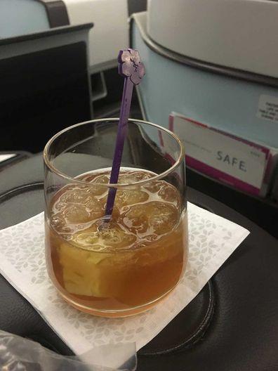 Hawaiian Airlines welcome mai tai drink