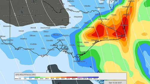 Wind gusts of up to 140km/h could join the showers, which are expected to bring more than a month's-worth of rain in just one day. Picture: Weatherzone.