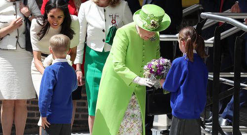 The Queen was resplendent in green, which was a nod to the anniversary of the Grenfell Tower fire. Picture: Getty