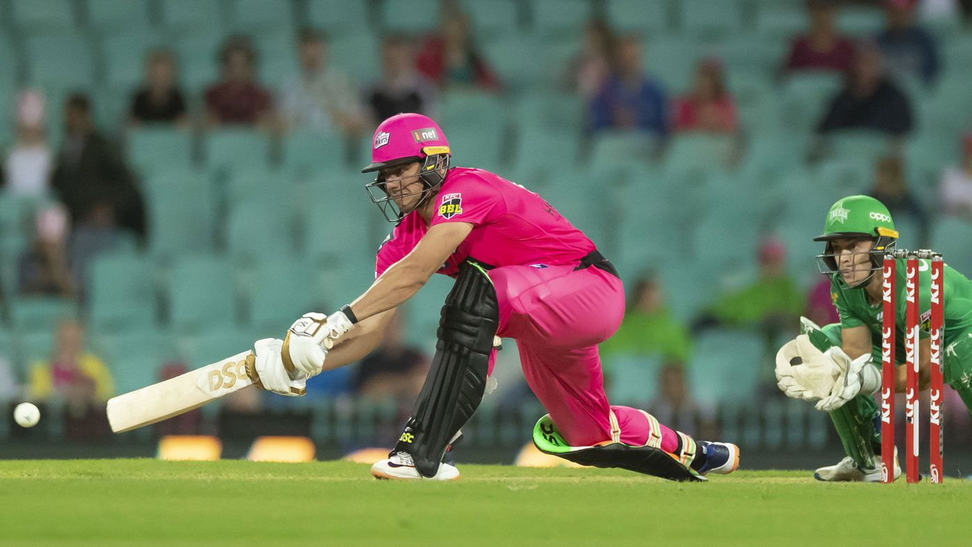 Moises Henriques of the Sixers bats during the Big Bash League (BBL) cricket Final between the Sydney Sixers and Melbourne Stars at the SCG in Sydney, Saturday, February 8, 2020.