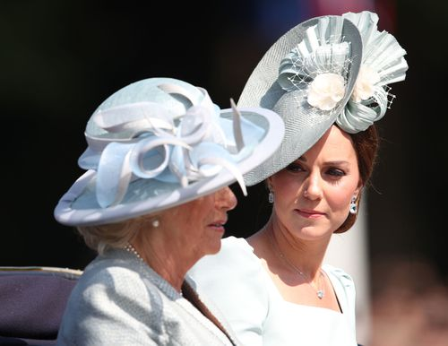 Catherine Duchess of Cambridge and Camilla Duchess of Cornwall during the carriage procession along The Mall at Trooping The Colour.