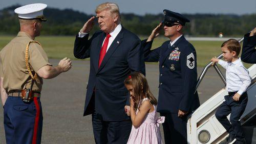 Mr Trump with Arabella Kushner and Joseph Kushner. (AAP)