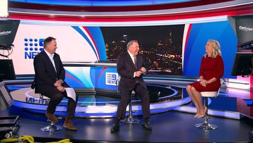 Tony Jones, left, Peter Hitchener, centre and Livinia Nixon in 9News Unmasked.