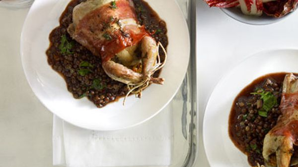 Thyme-roast quail with prosciutto and red wine lentils