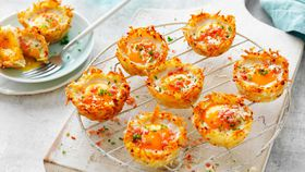 Hash brown ham and egg nests