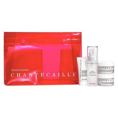 "<a href=""http://mecca.com.au/chantecaille/travel-essentials-kit/I-025814.html"" target=""_blank"">Chantecaille Travel Essentials Kit, $253.</a><br> Travel-friendly editions of the Rice and Geranium Foaming Cleanser (15ml), Pure Rosewater (30ml), Flower Harmonizing Cream (30ml) and Jasmine and Lily Healing Mask (30ml)."