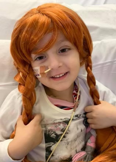 The little girl has been making the most of her Disney princess wigs during treatment.