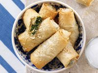 Greek cheese and spinach rolls