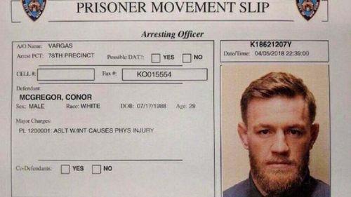 Conor McGregor's prisoner movement slip. (9NEWS)