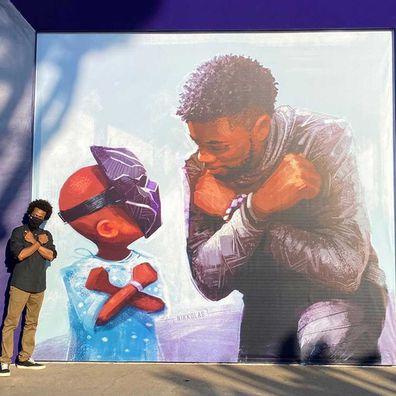 Chadwick Boseman mural at Disneyland.