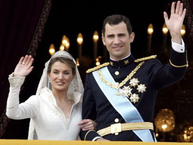 Queen Letizia and King Felipe of Spain on their wedding day.