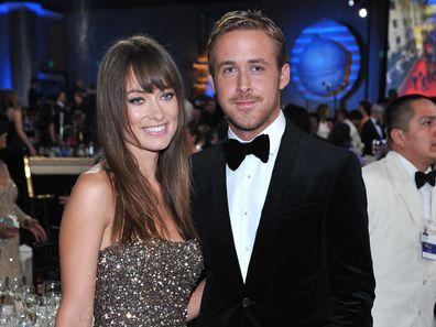 Olivia Wilde e Ryan Gosling durante a 68ª edição do Golden Globe Awards realizada no Beverly Hilton Hotel em 16 de janeiro de 2011.