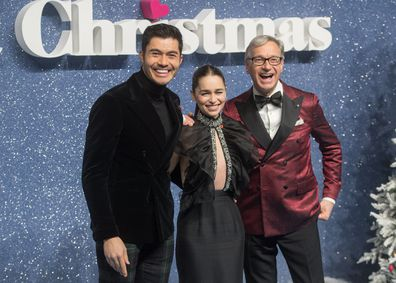 Henry Golding, Paul Feig and Emilia Clarke at the UK premiere of Last Christmas on November 11.